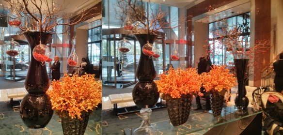 fall orange centerpiece wedding floral